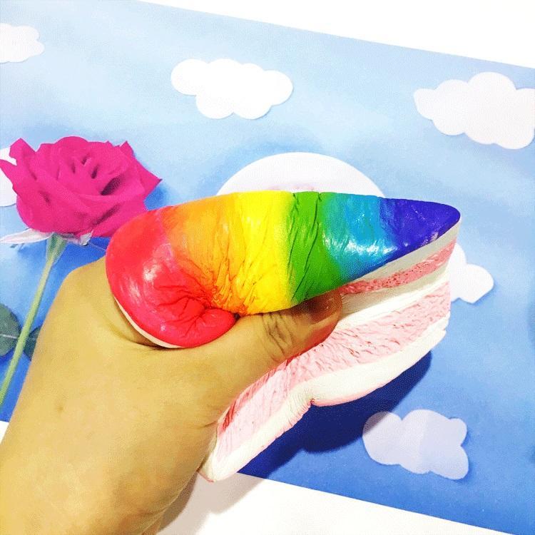 Hot sell make PU foam slow rising jumbo squishy rainbow cake vinyl toys for promotional gift.