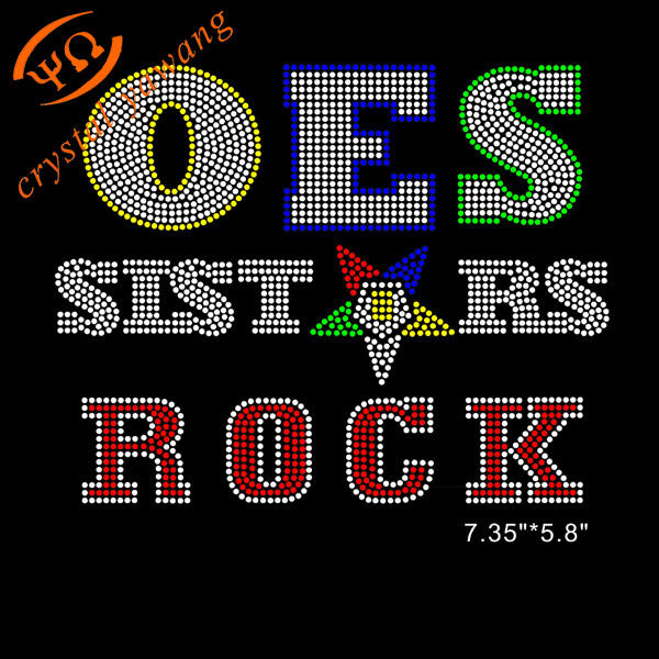 wholesale oes sister rock eastern star rhinestone transfer heat applique