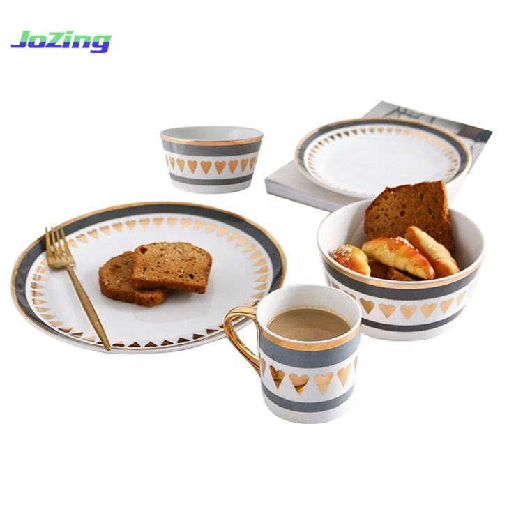 Hot Sale Heart Printing Camping 5 pcs Ceramic Porcelain Dinner Set with Rim Gold