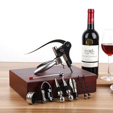 Deluxe 9pcs Rabbit Wine Bottle Opener Vertical Lever Corkscrew Wooden Box Set