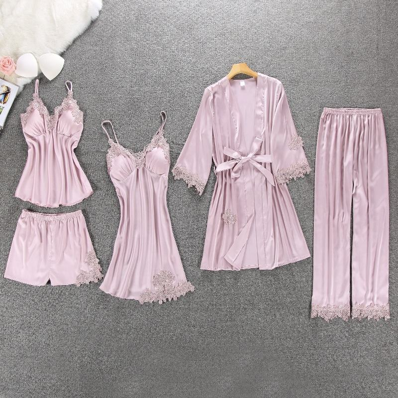 Women Silk Night Dress Lace Satin Robe Plain Color Sexy Five Piece Pajamas Set