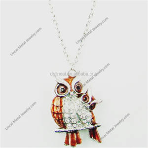Zinc alloy crystal owl necklace jewelry