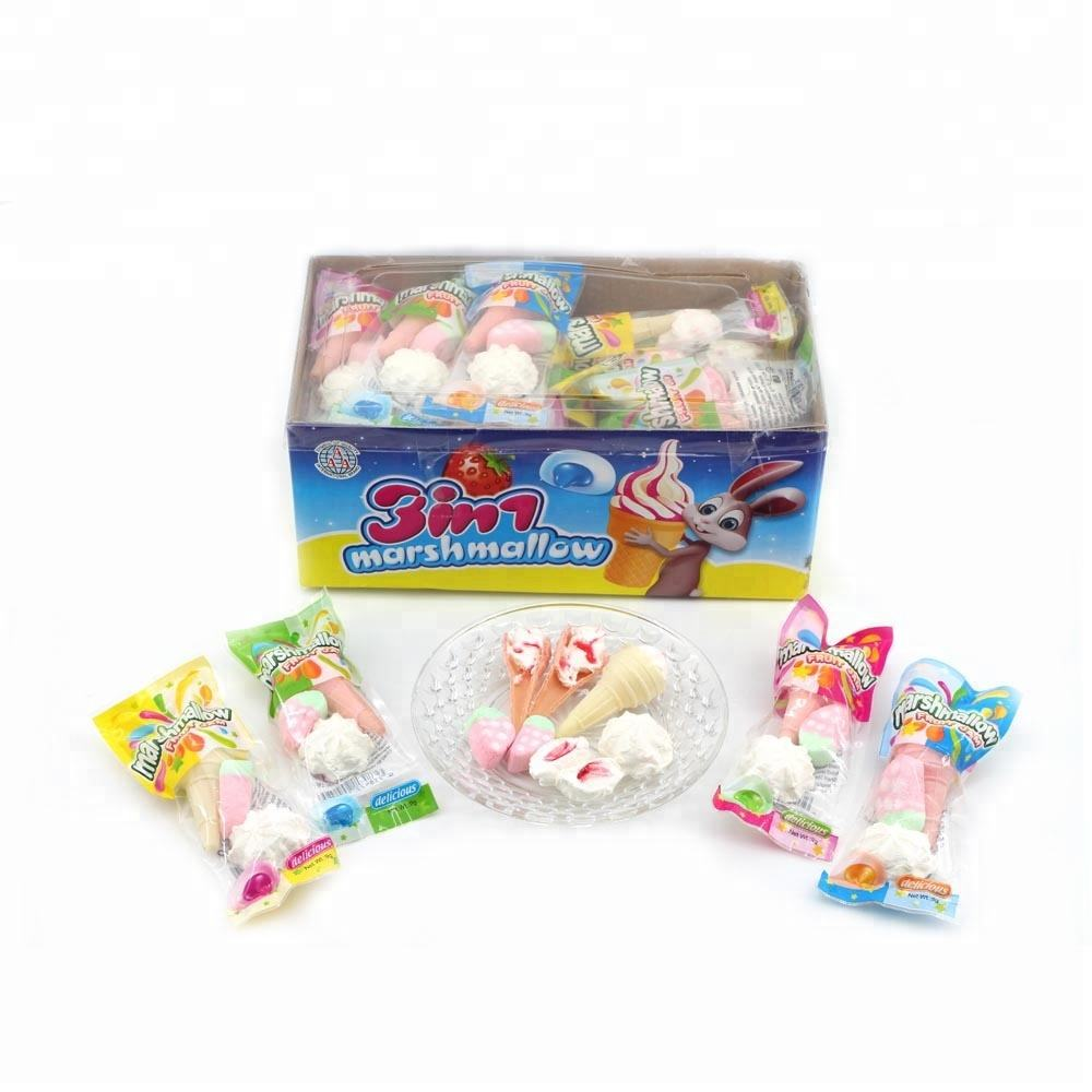 Halal <span class=keywords><strong>3</strong></span> in 1 Marshmallow in pacchetto del sacchetto (ice-cream, fragola, nube a forma di)