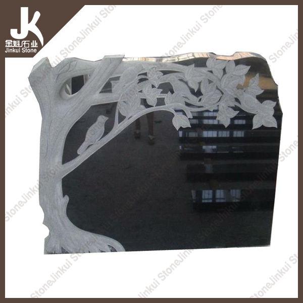 JK Pierre conception ou client style noir granit pierre tombale matériel de gravure