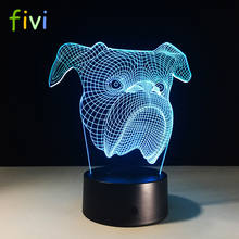 3D Pekingese Dog Head Night Light Colorful Touch LED Table Lamp Gift Custom Atmosphere Lamp Gift For Child