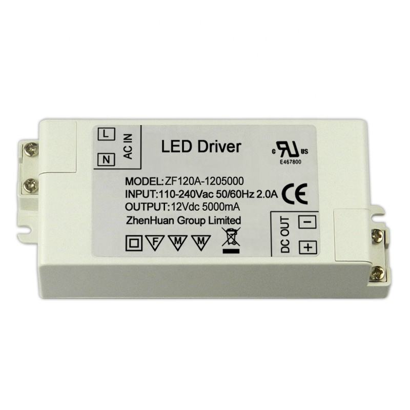 CE RoHS Disetujui 12 V 5A Power Supply 60 W Trafo/LED Driver