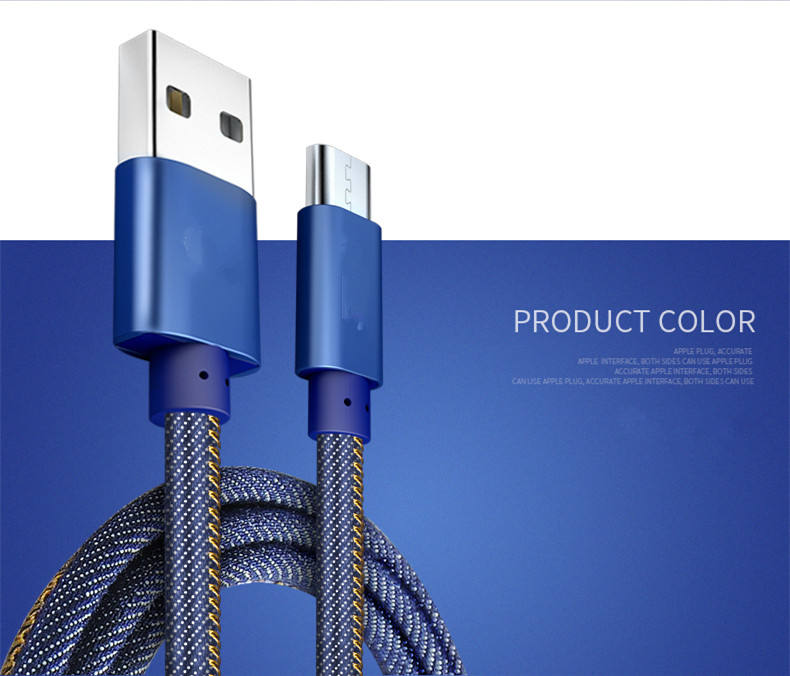 2.1A rápida de datos Cables de carga de Cable de cargador USB de tela de Jean 8pin cable USB para iPhone 6 6 Plus 5 5 s s 5 iPad mini