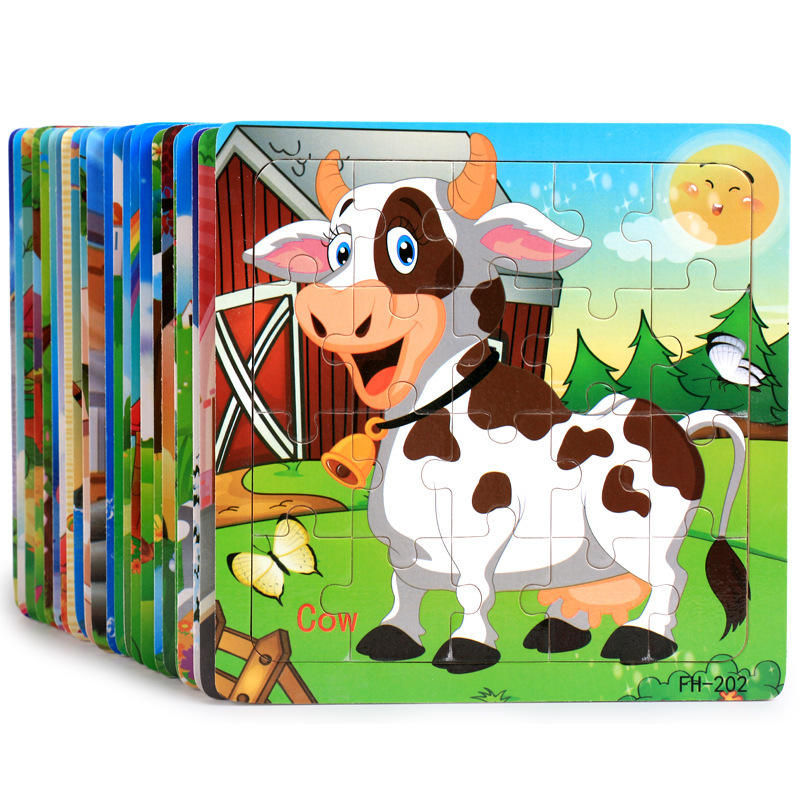 20 pieces of 3D wooden cartoon animal jigsaw puzzle children early education wooden puzzle building blocks