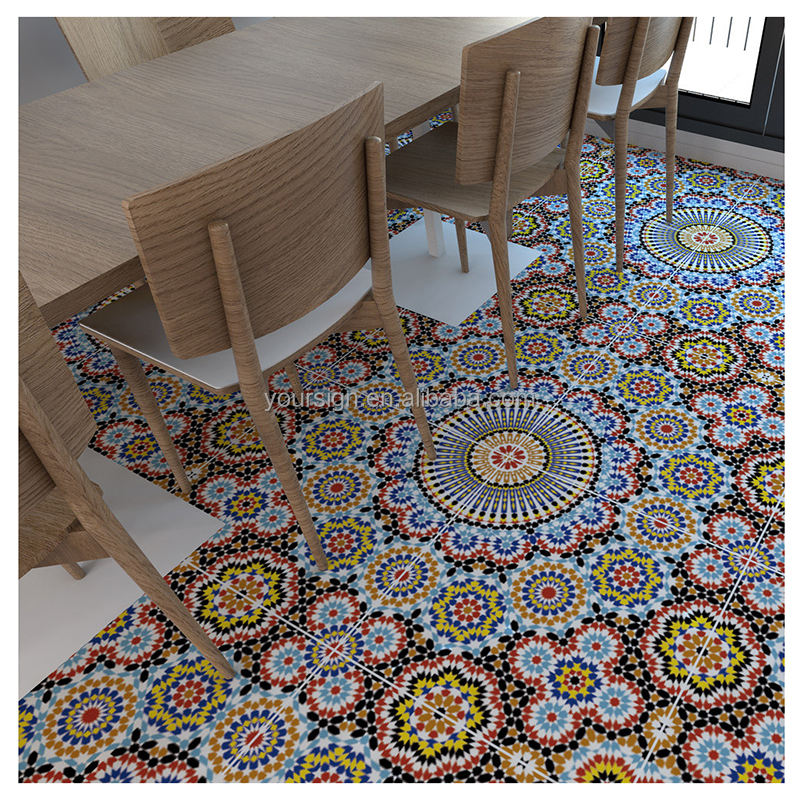 self adhesive colorful durable floor tile stickers for home decoration