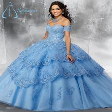 Tiered Tulle Beading Lace Appliques Detachable Sleeves  Quinceanera Dresses Gowns