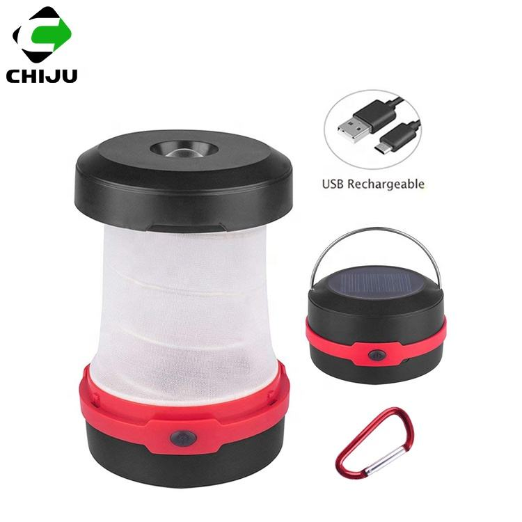 outdoor portable foldable Led rechargeable solar camping lantern with mobile phone charger