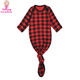 Buffalo Plaid Toddler Clothes Long Sleeve Baby Boy or Girl Checkered Mermaid Tie Bottom Knotted Baby Gown Newborn Sleeper Gown