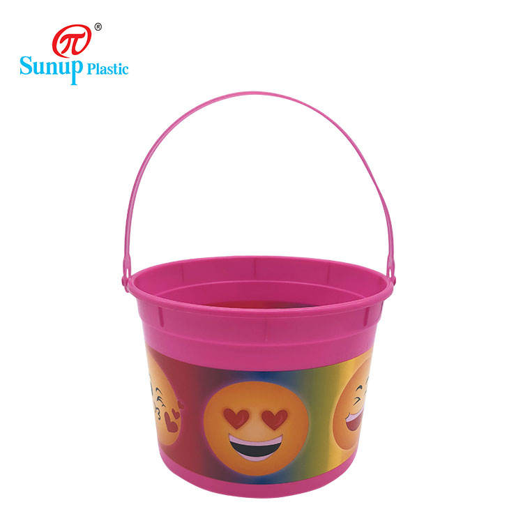 Customized Color Pail Storage Pp Flexible Plastic Bucket with Handle