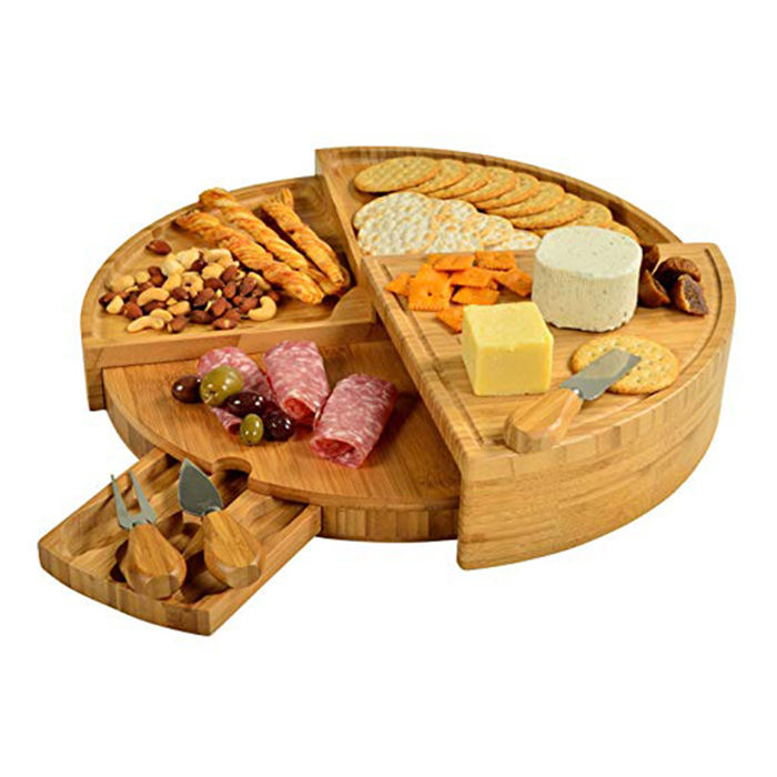 Wholesale Rectangle Wooden Bamboo Cutting Cheese Board With Drawer