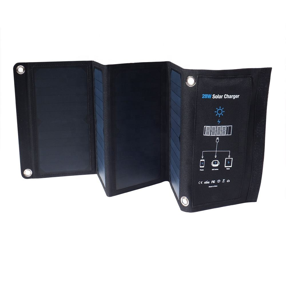 22% Charging Efficiency Lightweight Foldable Solar Panels 3 USB output Sunpower 28W Solar Mobile Phone Charger for Outdoor