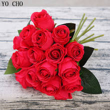 Artificial  wedding flowers home decoration cheap artificial red rose flower high quality silk rose flower bunch rose