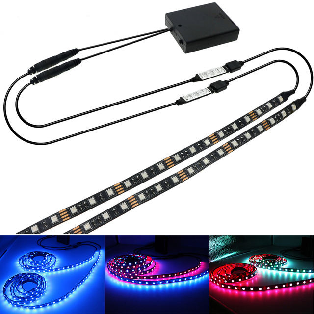 Double Output Battery LED Strip 5050 RGB Black PCB IP20/IP65 Waterproof Lighting 4*AA Battery Operated With 2Pcs RGB Controller