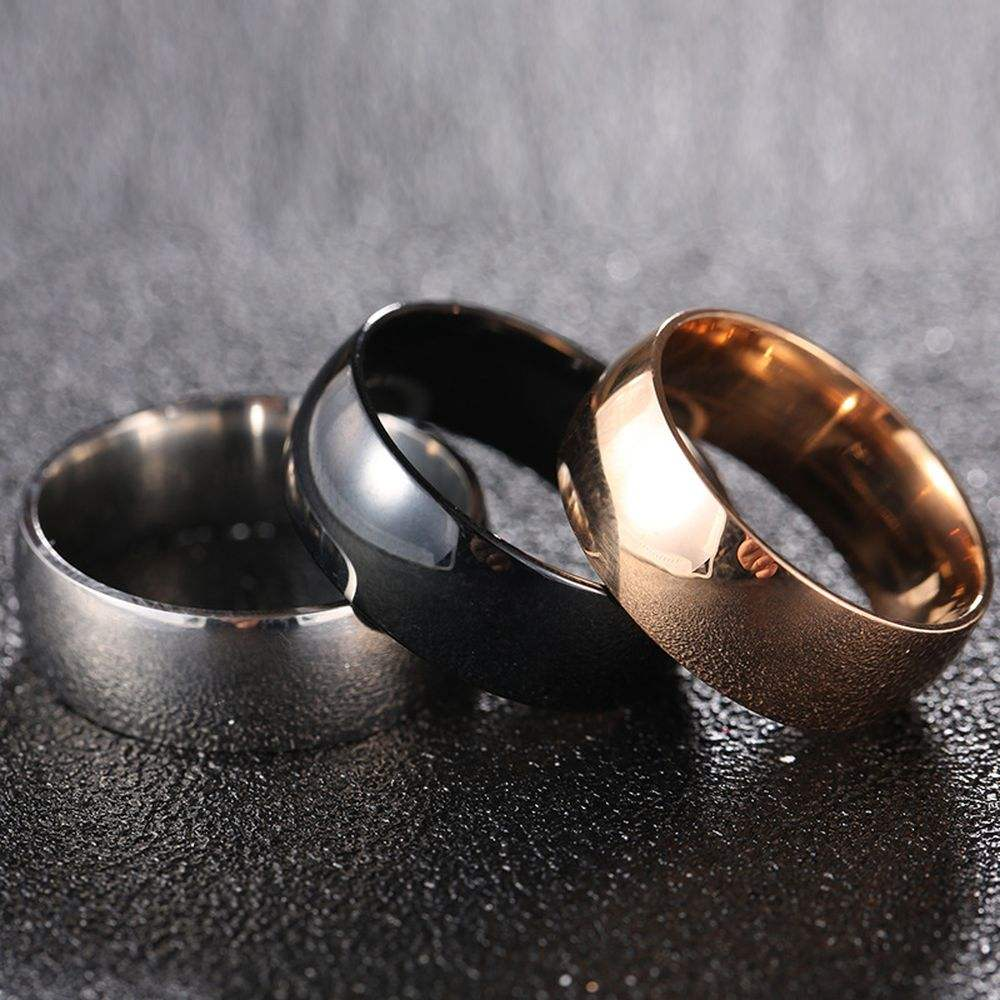 2019 Cheap Ring 8MM Wide Cambered Surface Two Side Stainless Steel Titanium Ring For Men