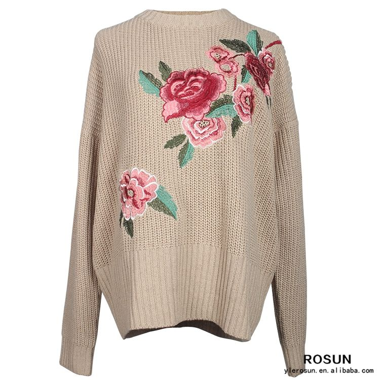 Child knitted long sleeve tee of light brown color Chinese style sweater as embroidered shirt