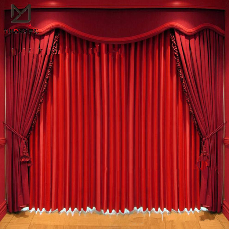Custom made fireproof motorized stage curtain polyester fabric curtain