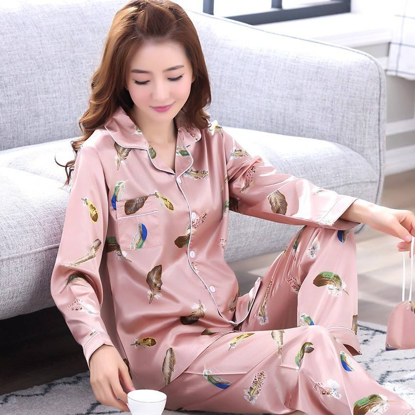 Autumn Cartoon printed lady long sleeve silk Spring sexy younger pajamas woman satin sleepwear