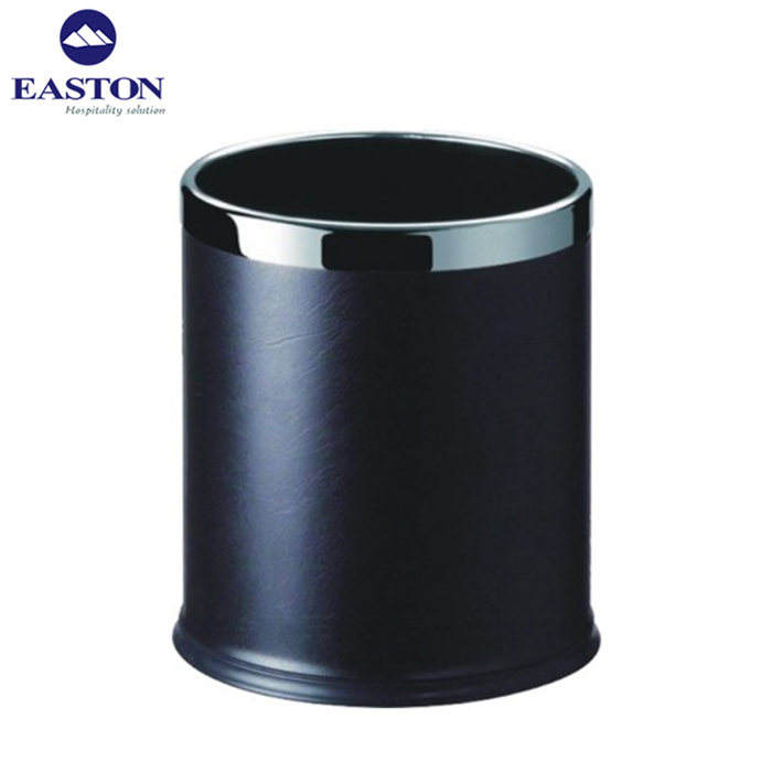 Waste bin single layer with leatherette outside fixed s/s ring on the top rubber bin
