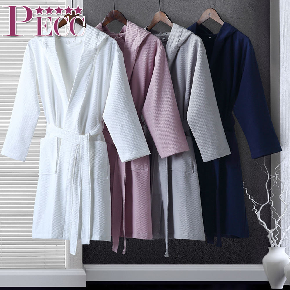 "100% Cotton Waffle Bathrobes 48"" Length For 5 Star Hotels Wholesale"