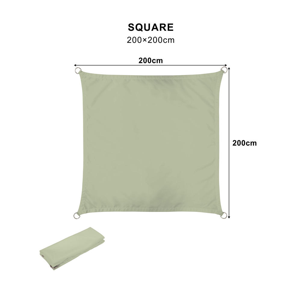 Custom Sun Screen Fabric 2x2m Square Green Waterproof Sun shade Sail Outdoor Sun Shade for Patios