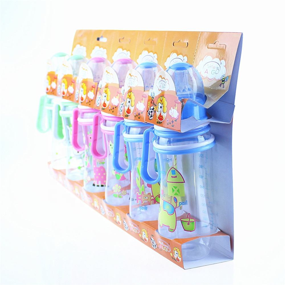 High quality best price curve PC plastic 8oz baby feeding bottle with handle in set