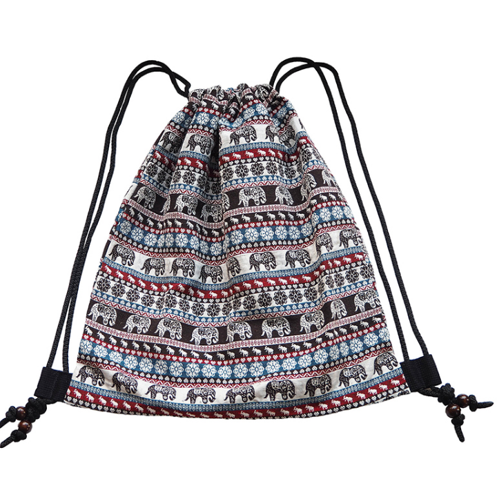 High quality sublimation strong black canvas beach drawstring backpack bag