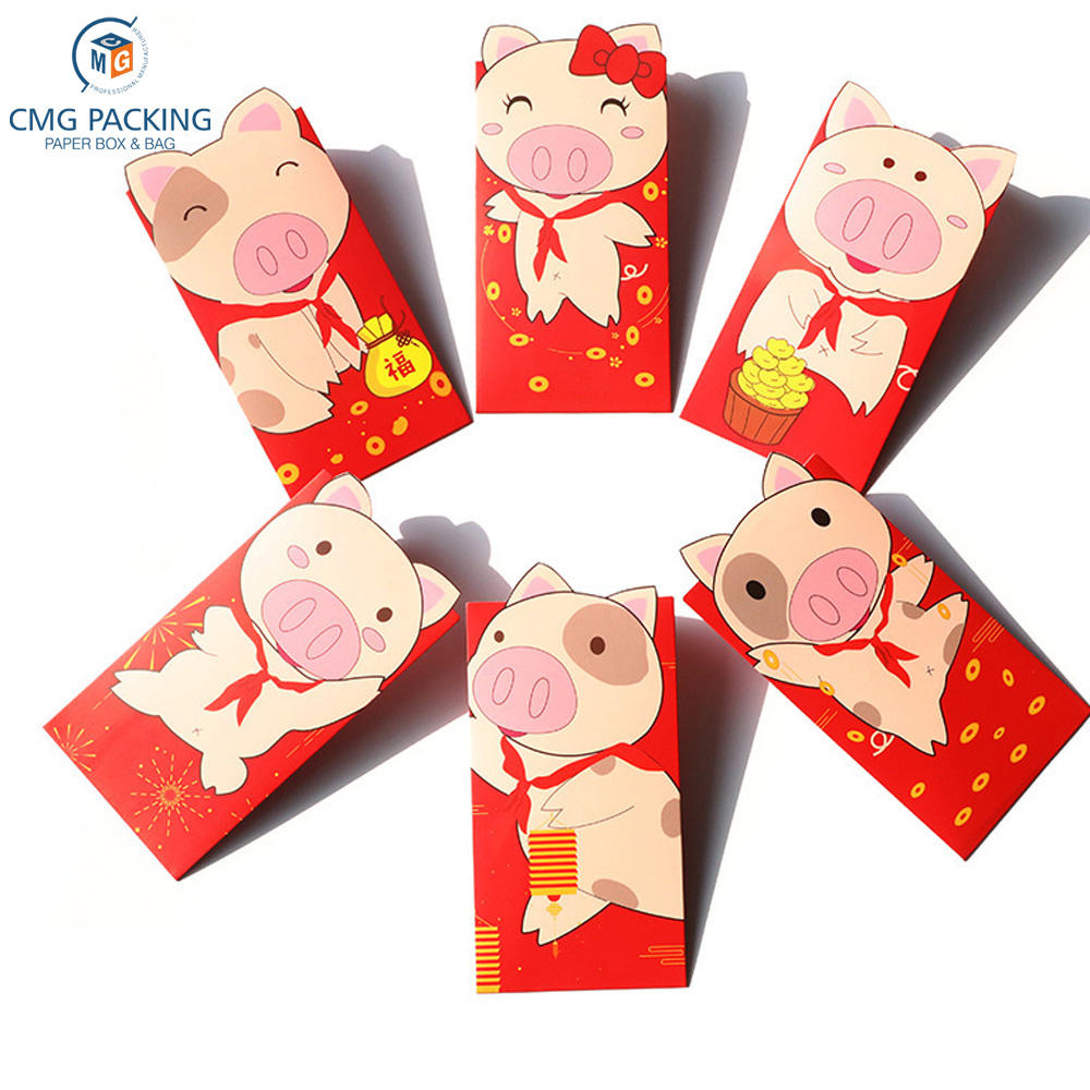 2019 New Year Red Packets Year of the Pig Creative Personality Cartoon New Year Logo Hot Stamping Custom Wholesale