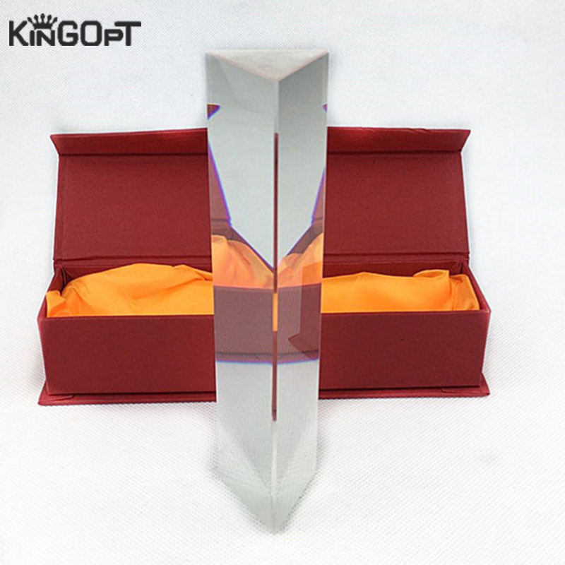 Kingopt Clear Crystal optical glass 30x30x30x150mmTeaching Triangle Equilateral Prism for students