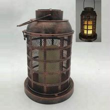 outdoor antique bronze metal solar burning candle lantern