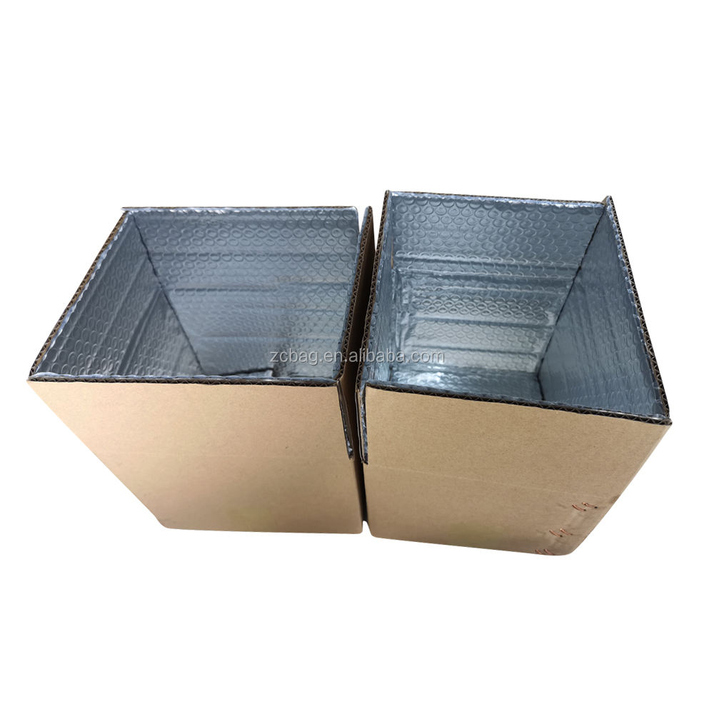 Standard Corrugated Carton Strong Durable Reusable Aluminum Foil Bubble Lined Heat Insulated Box 2kg Fruit Packaging Shipping