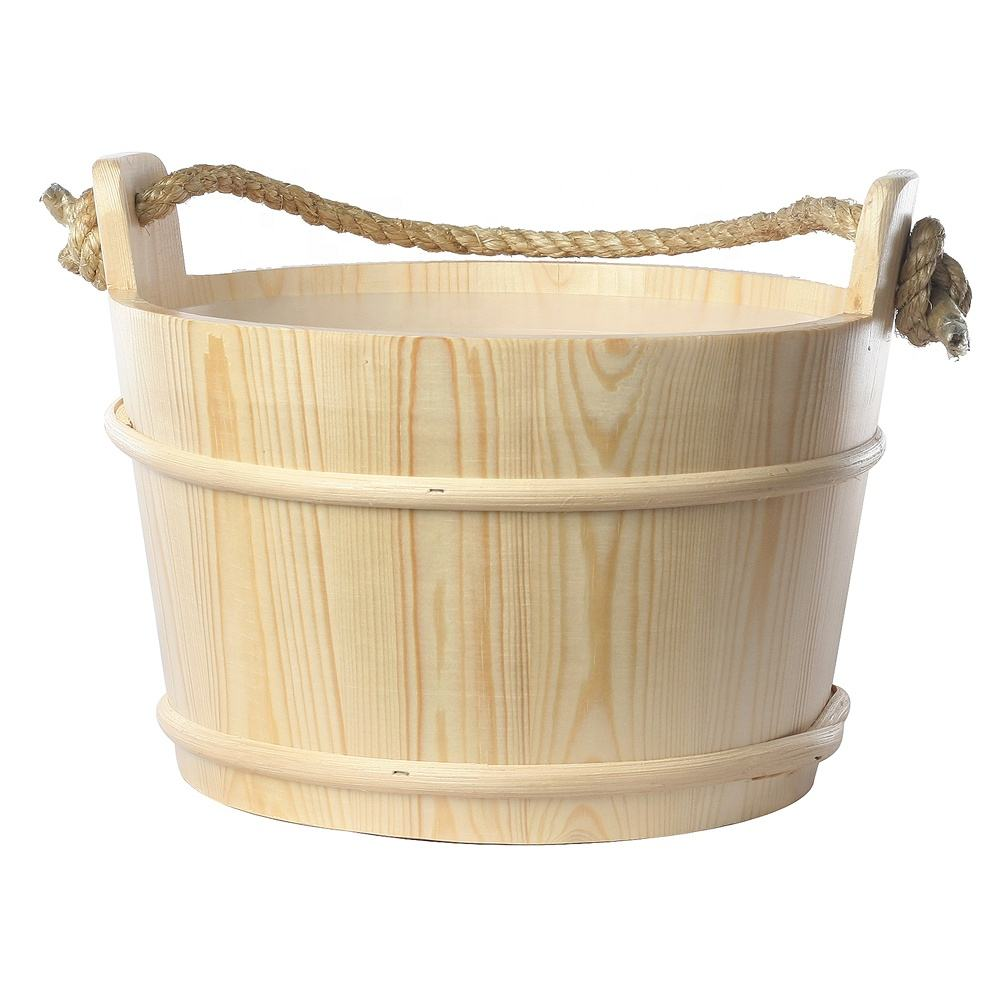 Alphasauna 5L Original Smell Finland knotless Pine Wooden Sauna Bucket Shower , sauna pail with PE plastic liner
