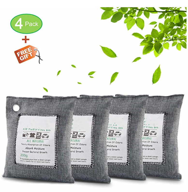 Air Purifying Bag Bamboo Charcoal Air Purifying Deodorizer Bags 4 Pack Set for Fridge Freezers Cars Closet Shoes Kitchens Base