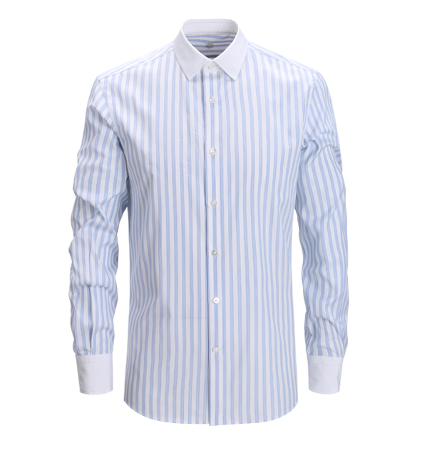 Non-iron contrast collar and cuff blue &white strip dress shirt