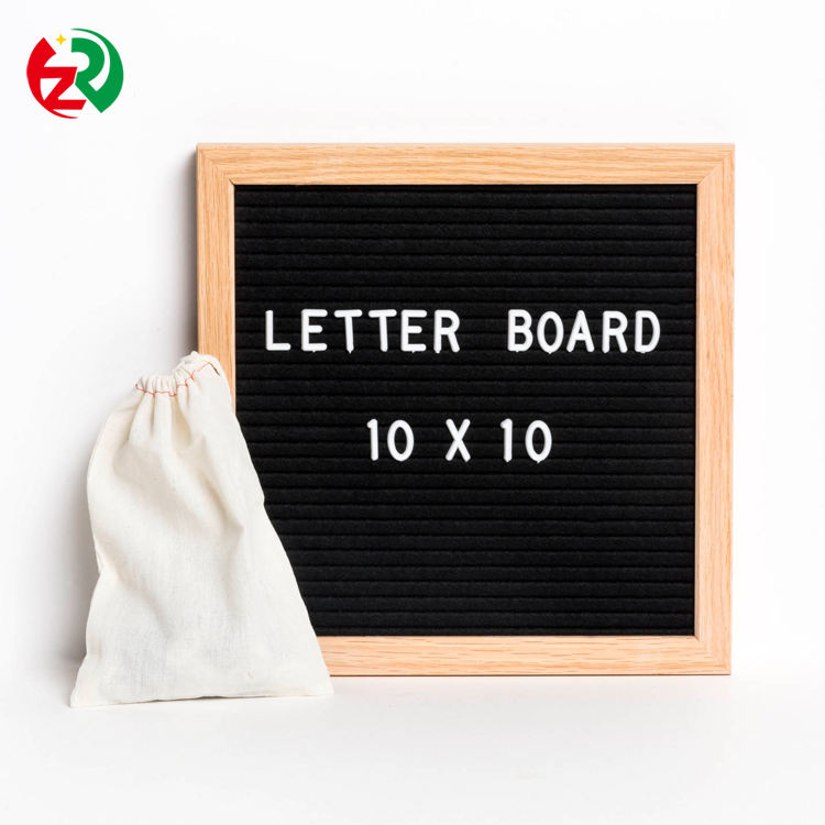 2019 new arrive customized black felt letter board with oak frame