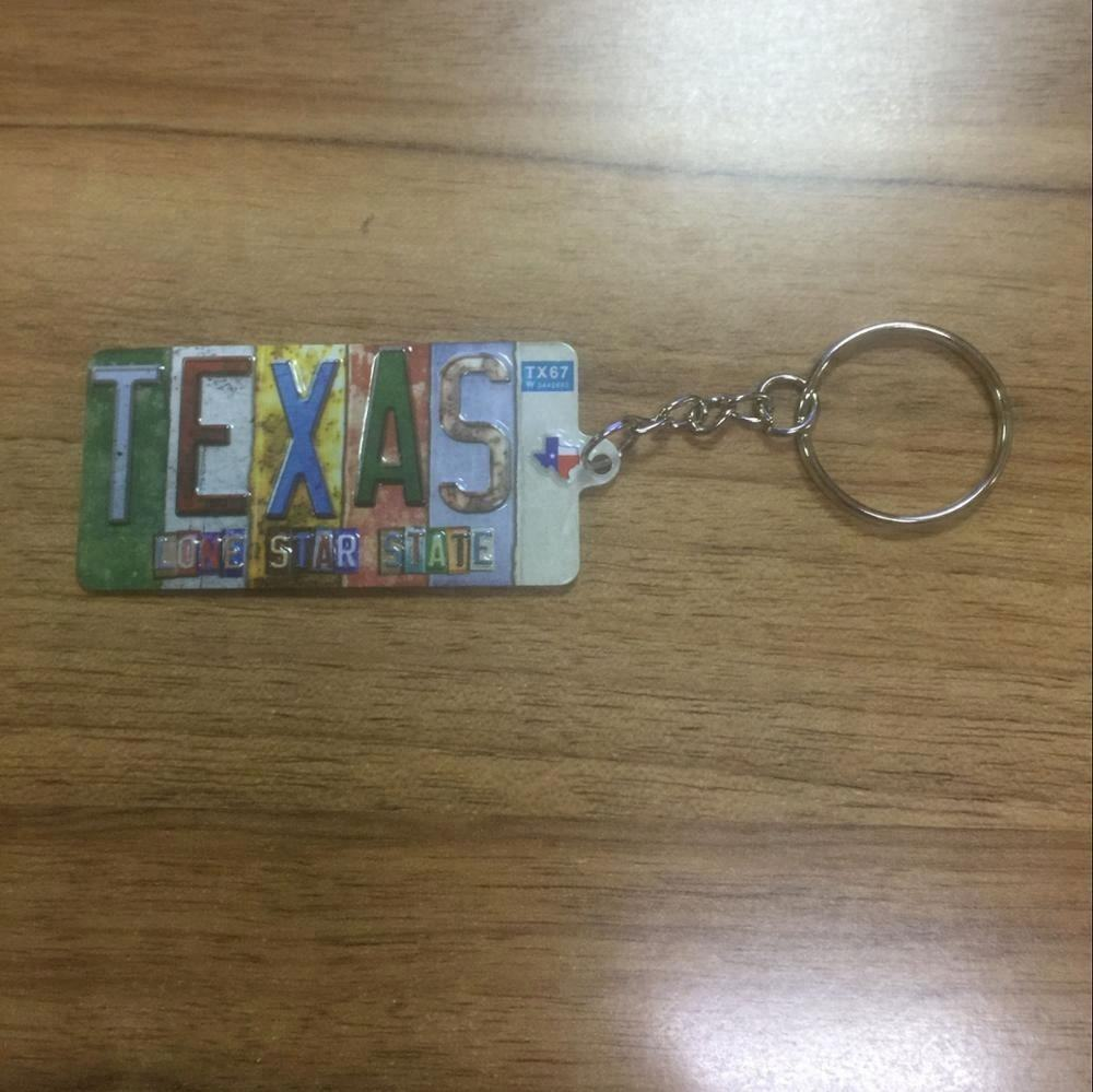 cheap souvenir custom USA made rubber patch keychains