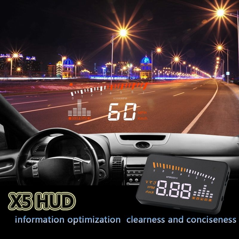 X5 3.5 Size Head Up Display Gemakkelijk Plug Aftermarket OBD2 Auto HUD Display