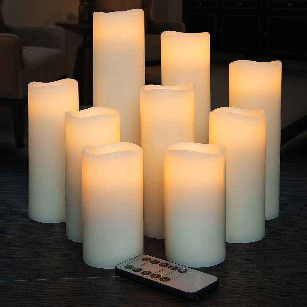 "Flameless Candles Battery Operated H 4"" 5"" 6"" 7"" 8"" 9"" Real Wax Pillar Flickering LED Candle with 10-key Remote and Time Control"