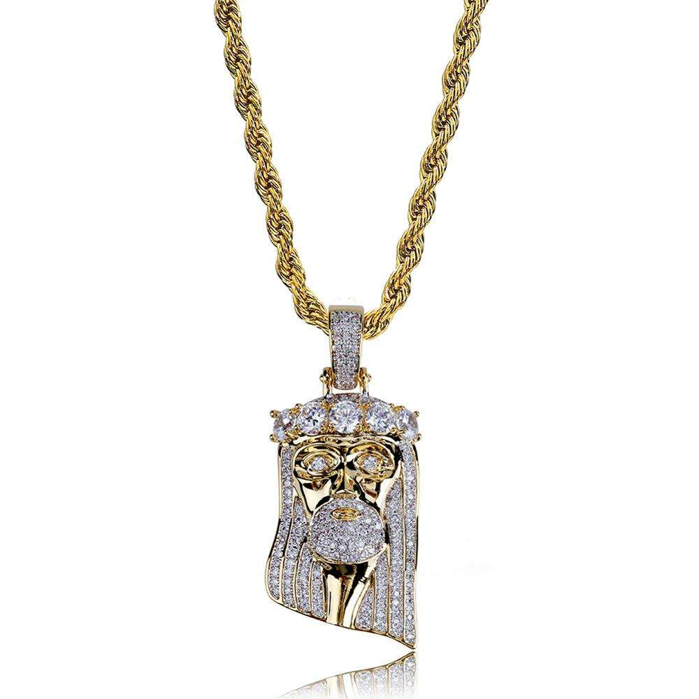 Wholesale New Listing High-end 18k Gold Plated Hiphop Iced Out AAA Zircon Vintage Crown Jesue Piece Pendant Necklace Jewelry