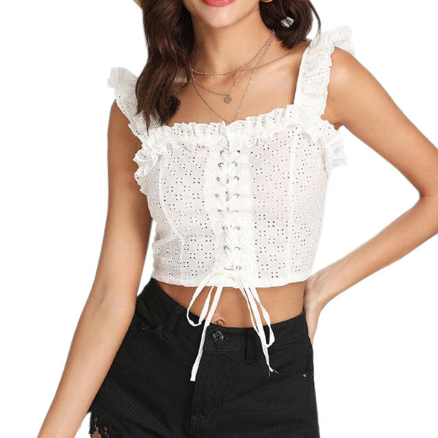 Cheap Ladies Lace Up Front Ruffle White Crop Top