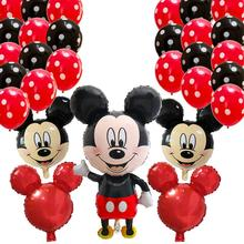 110*62cm Minnie Mickey mouse head foil balloons birthday party Cartoon 2.8g Polka Dot Latex Balloon decoration kids toy