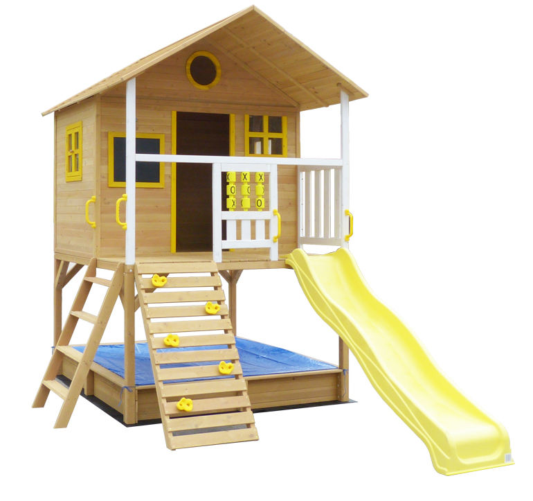 Children Outdoor Wooden Timber Cubby House With Ladder And Slide