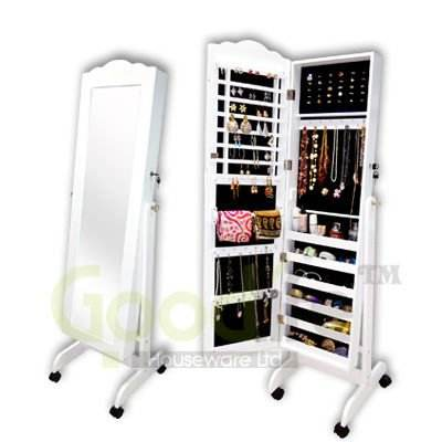 wholesale wooden furniture designs mirror jewelry armoire with wheels