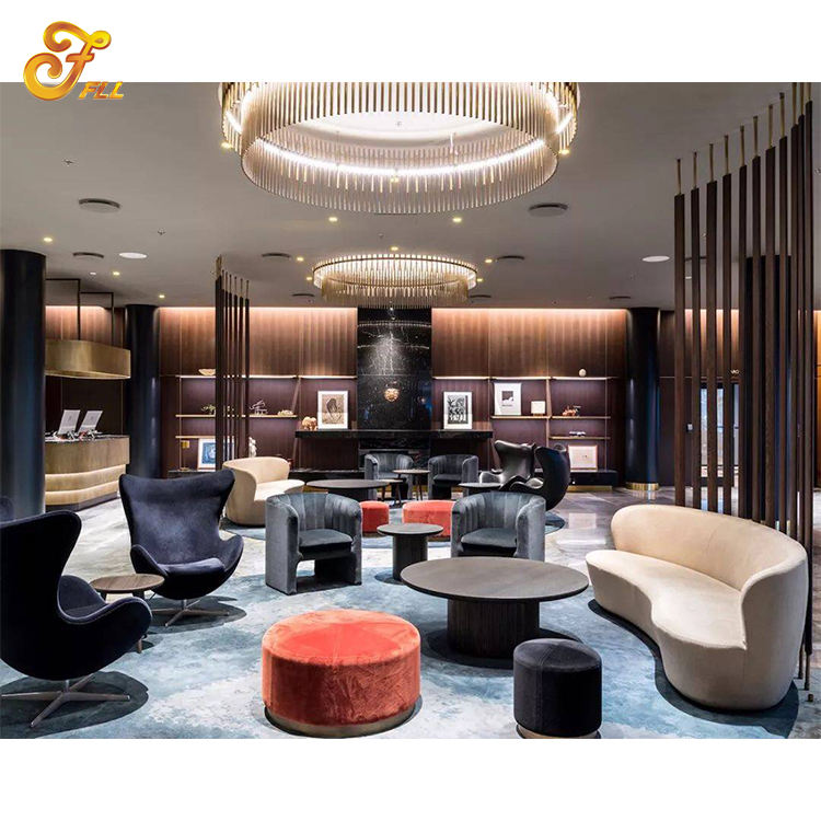Customize Luxury Hotel Lobby Furniture Wood Lounge Hotel Lobby