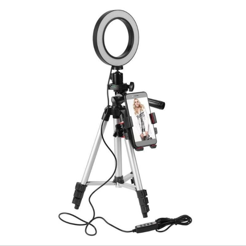 Amazon hot 5.7inch dimmable LED ring light self-timer with tripod net red live fill light lazy phone holder mobile phone bracket