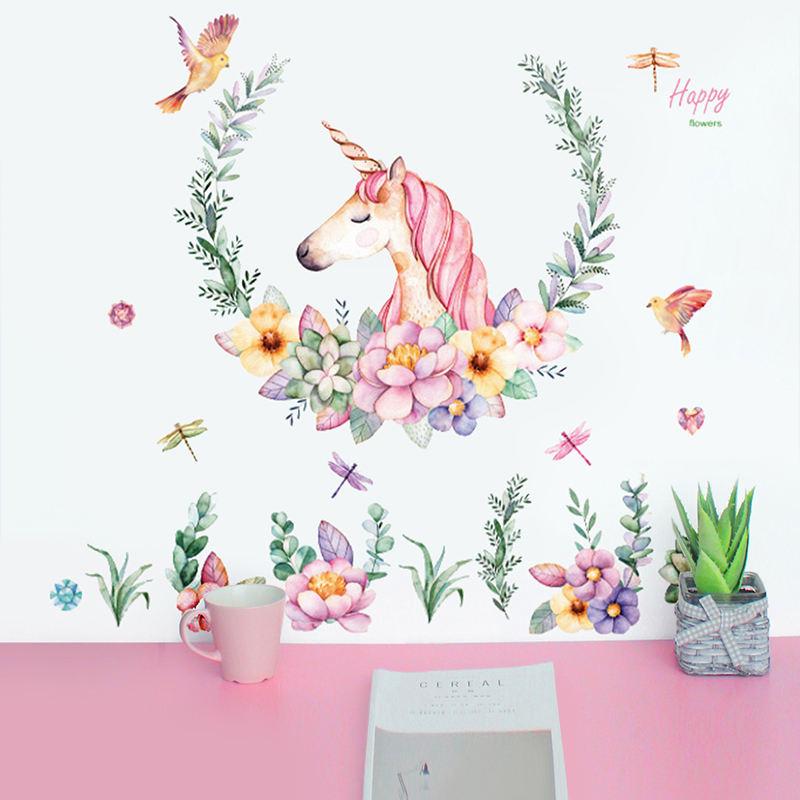 Cute Pink Lovely Licorne avec fleur Sticker mural pour d/écoration de chambre