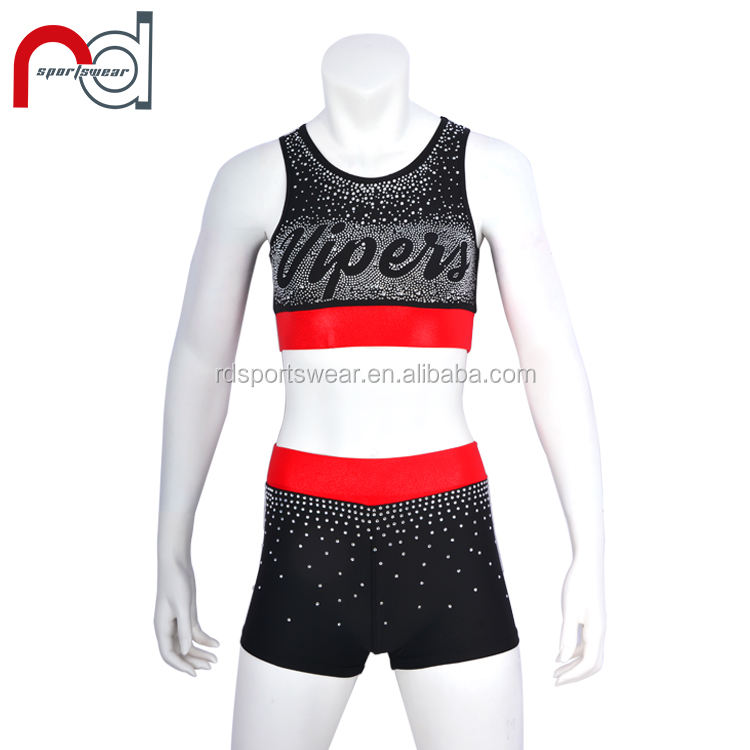 Rhinestone custom Wholesale all star cheerleading uniforms Hot child cheer practice wear uniform
